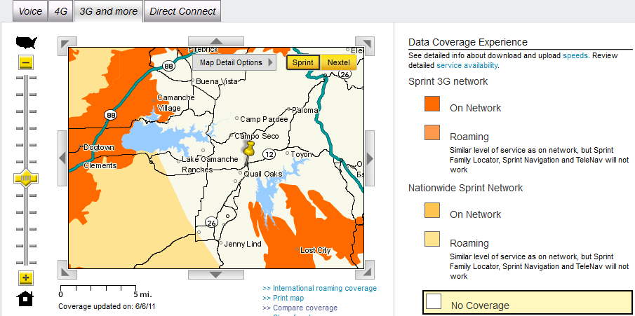 Sprint Cell Phone Coverage Map Valley Springs - Data Coverage