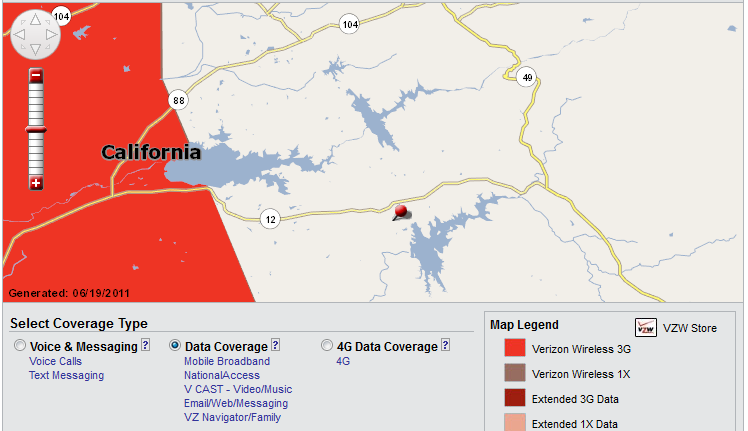 Verizon Wireless Cell Phone Coverage Map Valley Springs - Data Coverage