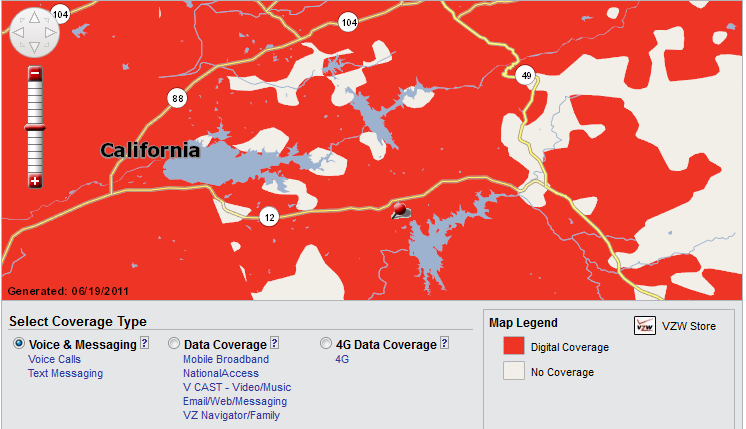 Verizon Wireless Cell Phone Coverage Map Valley Springs - Voice Coverage