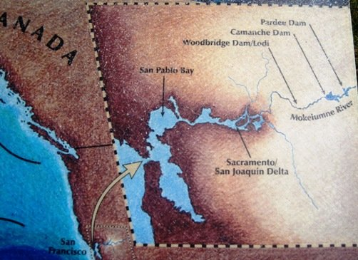 camanche dam california map
