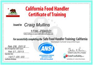 California Food Handlers Certificate